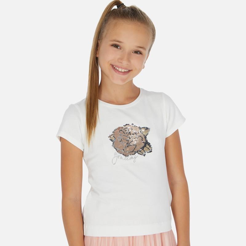 Тениска Mayoral с къс ръкав и пайети за момиче. - 6022-044-128 - view 1