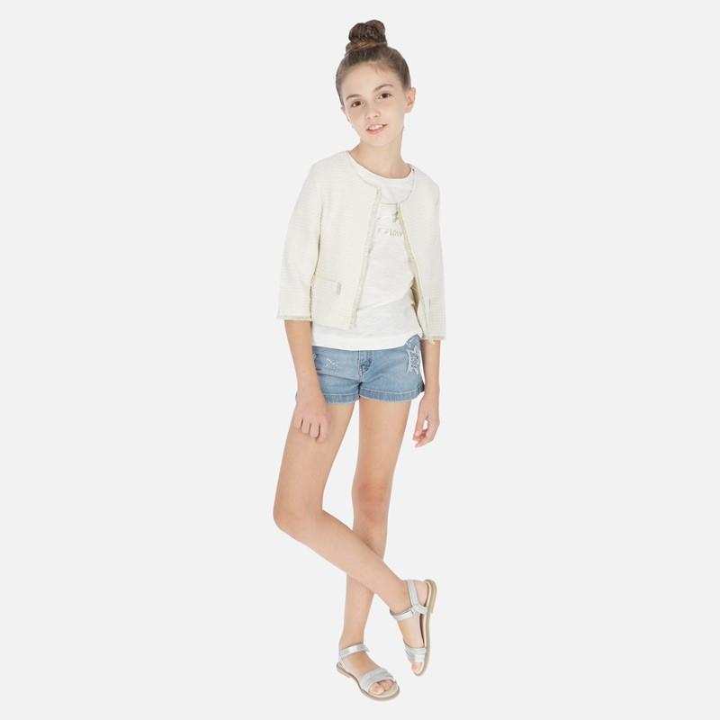 Къс дънков панталон Mayoral с апликации за момиче. - 6253-052-140 - view 1