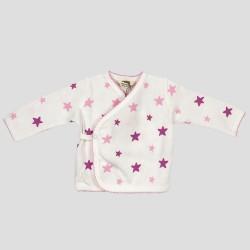 Бебешки комплект Organic Kid от 5 части вбяло, розово и лилавос апликации на звездички за момичета. - 10105-005 - view 3