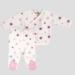 Бебешки комплект Organic Kid от 5 части вбяло, розово и лилавос апликации на звездички за момичета. - 10105-005 - view 2