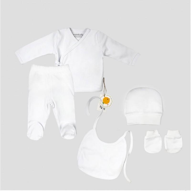 Бебешки комплект Organic Kid от 5 части вбяло за момичета/момчета. - 10082-012 - view 1