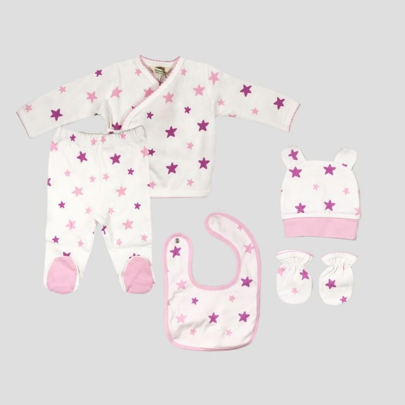 Бебешки комплект Organic Kid от 5 части вбяло, розово и лилавос апликации на звездички за момичета. - 10105-005 - view 1