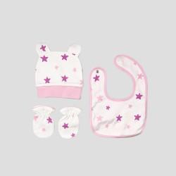 Бебешки комплект Organic Kid от 5 части вбяло, розово и лилавос апликации на звездички за момичета. - 10105-005 - view 5