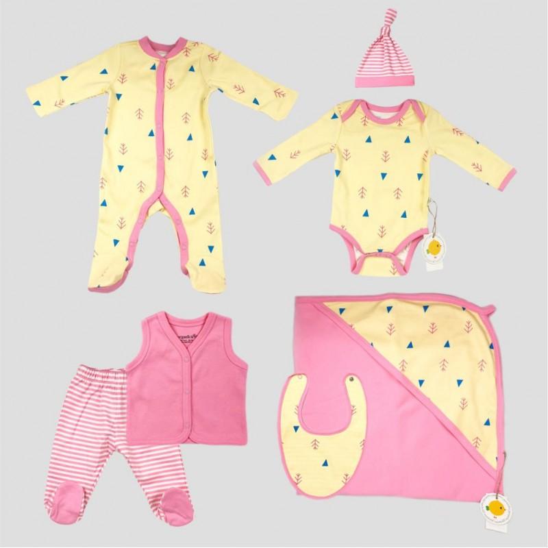 Бебешки комплект за изписванеOrganic Kid от 7 части в розово и жълто с апликации за момичета. - 10235-018 - view 1