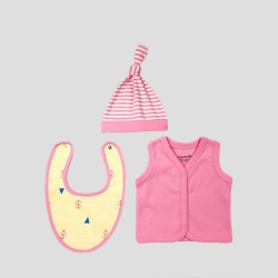Бебешки комплект за изписванеOrganic Kid от 7 части в розово и жълто с апликации за момичета. - 10235-018 - view 2