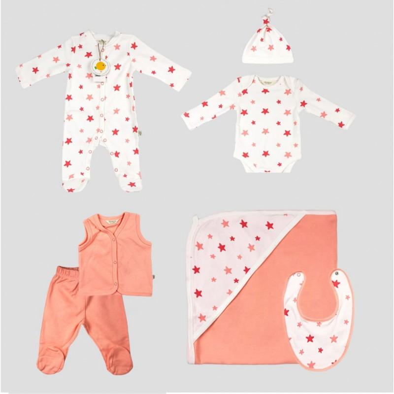 Бебешки комплект за изписванеOrganic Kid от 7 части с апликации на звездички за момичета. - 10235-002 - view 1