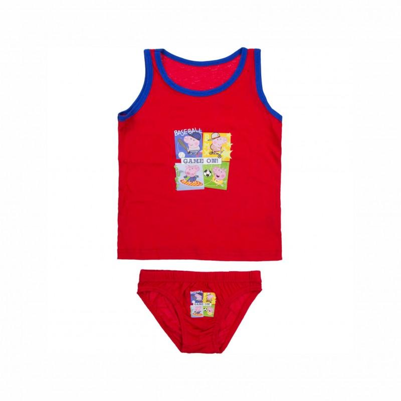 Детски комплект бельоPeppa Pig (Прасето Пепа) за момчета. - DQE3141 red-98 - view 1