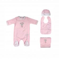 Бебешки комплектMinnie Mouse (Мини Маус) от 4 части за момичета - гащеризон, шапка, лигавник и подложка за преповиване. - ER0354 - view 1