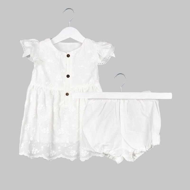 Бебешка рокля Bebetto с бродерия и гащички за момичета. - K2573-68 - view 1