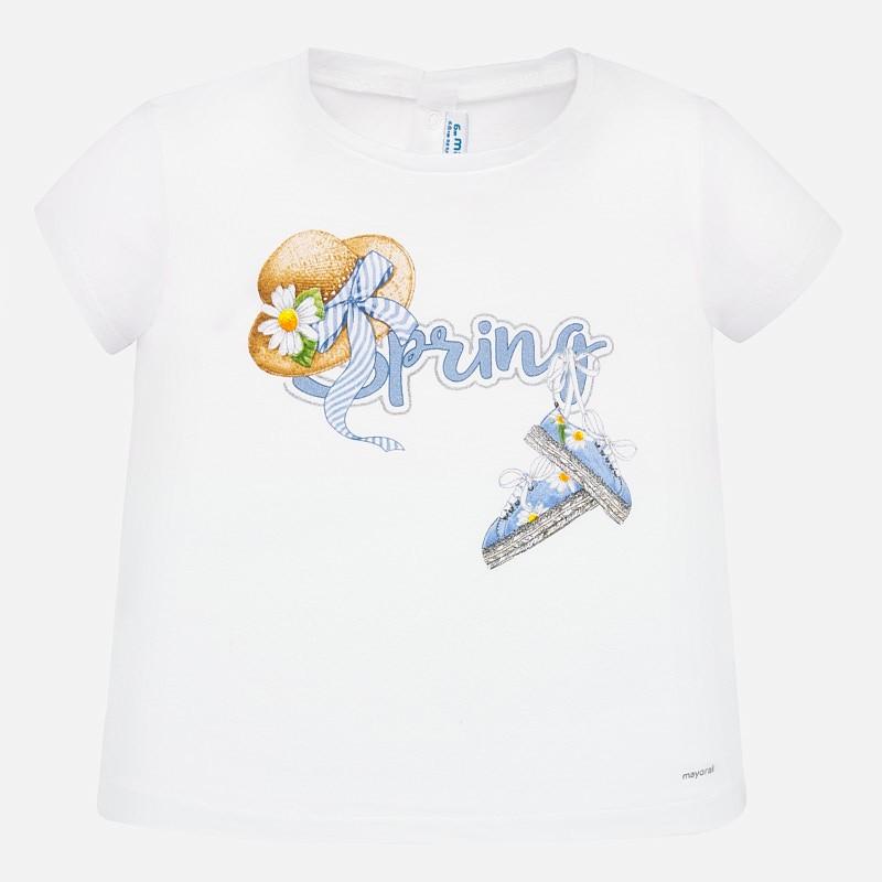 Тениска с къс ръкав и принт за бебе момиче - 1059-073 - view 1