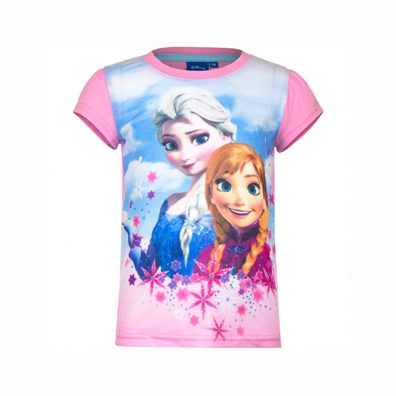 Детска тенискаFrozen (Замръзналото кралство) с къс ръкав за момичета. - EP1440 pink-110 - view 1
