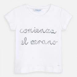 Тениска с къс ръкав и надпис за момиче - 3006-075 - view 2