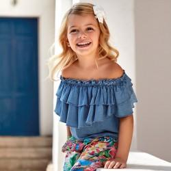 Дънкова блуза с волани за момиче - 3187-005 - view 1