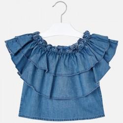 Дънкова блуза с волани за момиче - 3187-005 - view 2