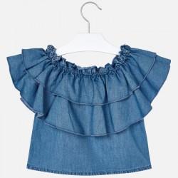 Дънкова блуза с волани за момиче - 3187-005 - view 3