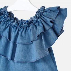 Дънкова блуза с волани за момиче - 3187-005 - view 4