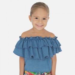 Дънкова блуза с волани за момиче - 3187-005 - view 5