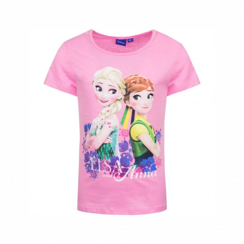 Детска тенискаFrozen (Замръзналото кралство) с къс ръкав за момичета. - ER1118 pink-116 - view 1