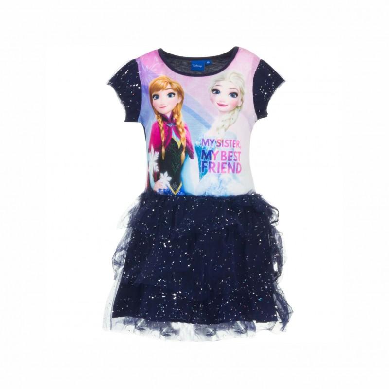 Детска рокля Frozen (Замръзналото кралство) с къс ръкав и тюл за момичета. - HQ1209 blue-104 - view 1