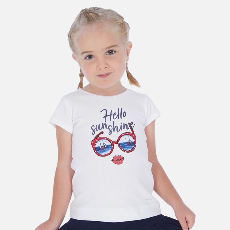 Тениска с къс ръкав и рисунка очила за момиче - 3017-037 - view 1