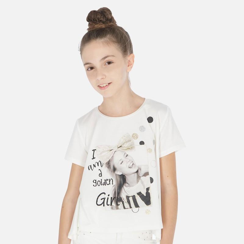 Тениска с къс ръкав и глитер за момиче - 6009-047 - view 1