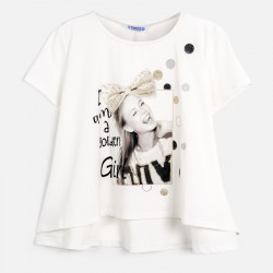 Тениска с къс ръкав и глитер за момиче - 6009-047 - view 3