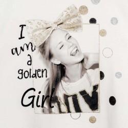 Тениска с къс ръкав и глитер за момиче - 6009-047 - view 4