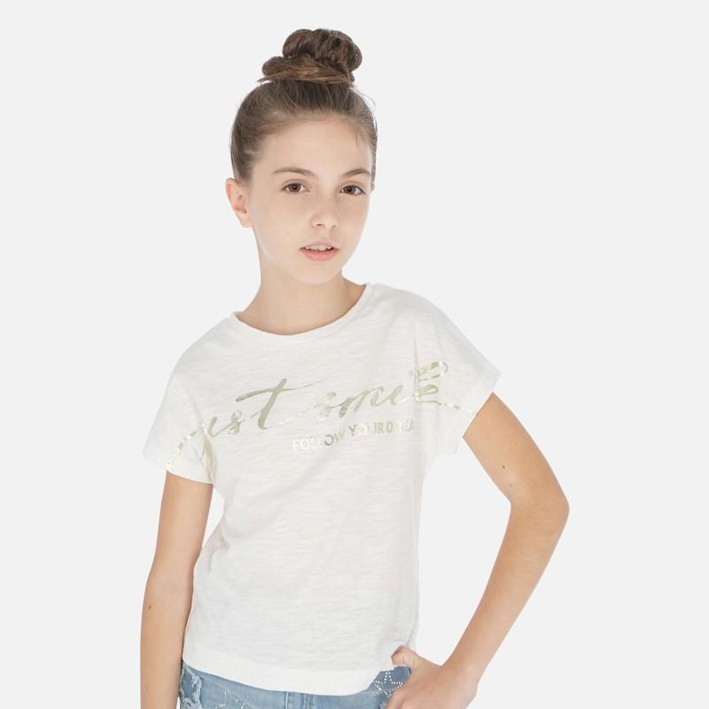 Ламинирана тениска с къс ръкав за момиче - 6010-003 - view 1
