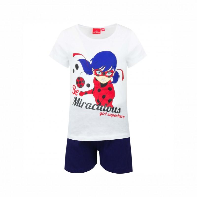 Детска пижамаLadybug (Калинката и Черния котарак)скъс ръкав и къси панталони за момичета. - SE2140 white-104 - view 1