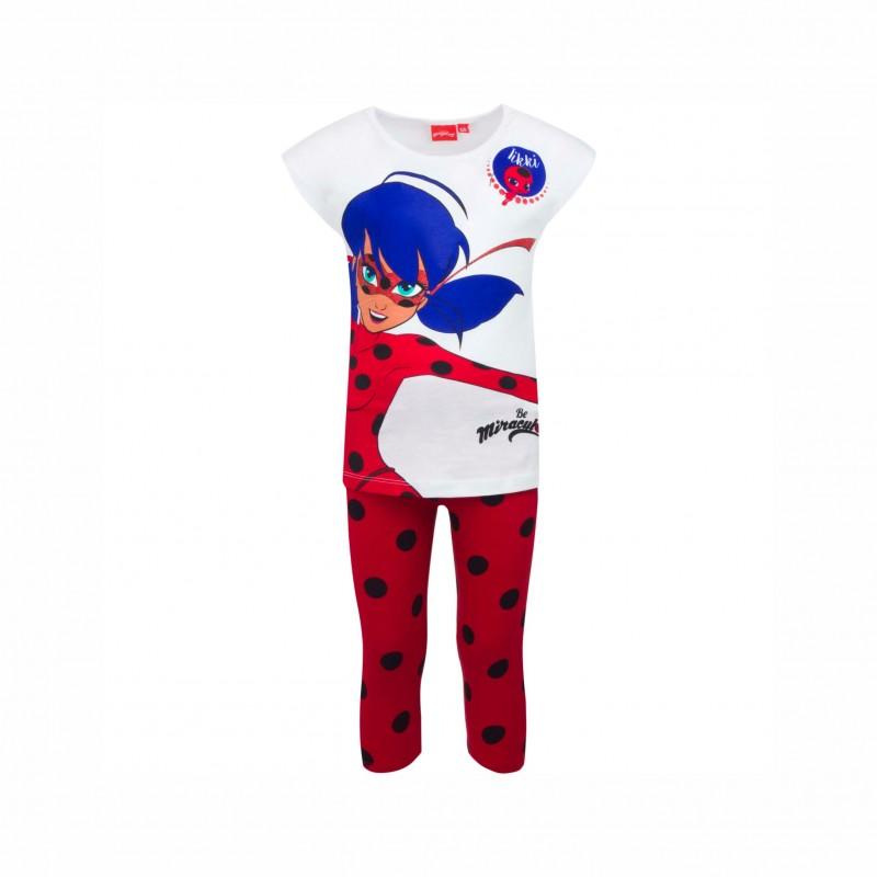 Детска пижамаLadybug (Калинката и Черния котарак)скъс ръкав и3/4 панталони за момичета. - SE2136 white-104 - view 1