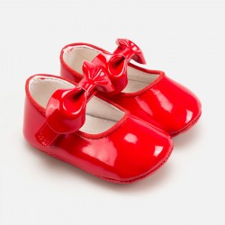 Лачени пантофки за новородено бебе момиче - 9286-048 - view 1