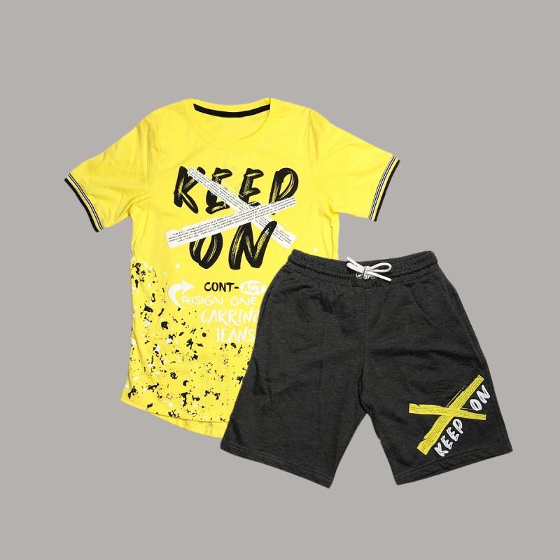 Детски комплект Keiki с тениска къс ръкав и къси панталони за момчета. - 50692-009-140 - view 1