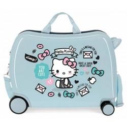 Твърд светлосин куфар Hello...