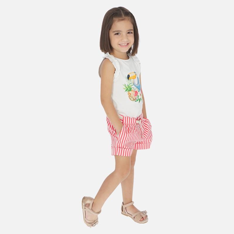 Къс панталон на райета с колан за момиче - 3283-024 - view 1