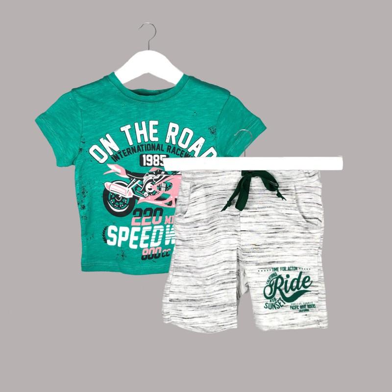 Детски комплект Enfant с тениска къс ръкав и къси панталони за бебе момче. - 54595-038 - view 1