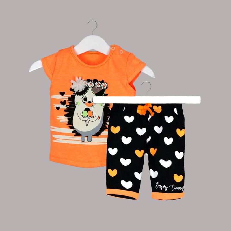 Детски комплект Enfant с тениска къс ръкав ипанталони за бебе момиче. - 52657-003 - view 1