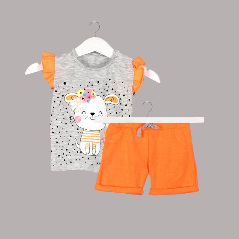 Детски комплект Enfant с тениска къс ръкав и къси панталони за бебе момиче. - 54439-003 - view 1