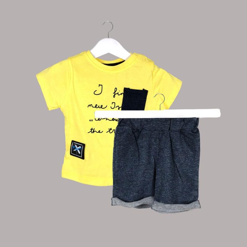 Детски комплект Enfant с тениска къс ръкав и къси панталони за бебе момче. - 54731-009 - view 1