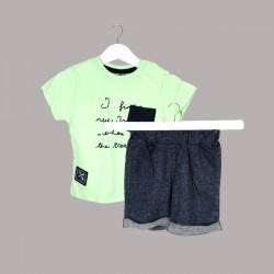 Детски комплект Enfant с тениска къс ръкав и къси панталони за бебе момче. - 54731-024 - view 1