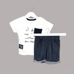 Детски комплект Enfant с тениска къс ръкав и къси панталони за бебе момче. - 54731-014 - view 1