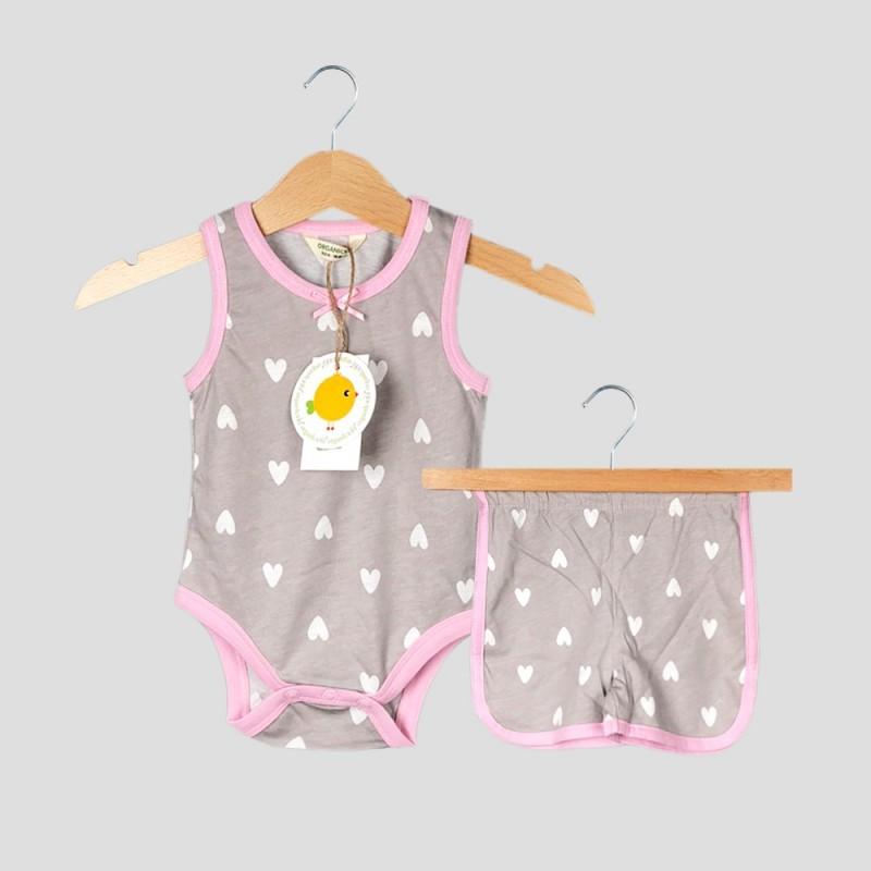 Бебешки комплект боди и къси панталони Organic Kid за момичета. - 10191-010 - view 1