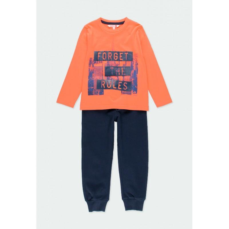 Комплект Boboli с тениска дълъг ръкав и спортни панталони за момчета - 501219-5095 - view 1