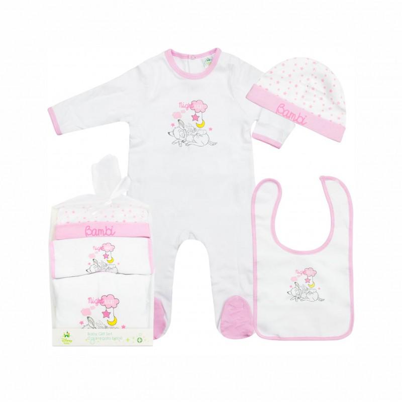 Бебешки комплект Bambi (Бамби) от 3 части за момичета - гащеризон, шапка и лигавник. - AQE0343 - view 1
