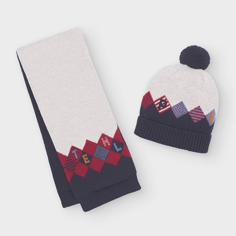 Комплект трицветни шапка и шал Mayoral за бебе момче - 10840-054 - view 1