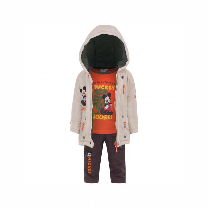 Бебешки комплект Mickey Mouse (Мики Маус) от 3 части за момчета - яке, тениска с дълъг ръкав и панталони. - APH0234 beige - view 1