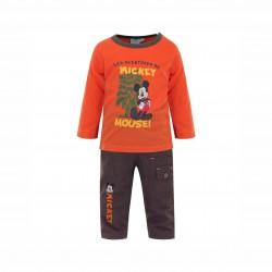 Бебешки комплект Mickey Mouse (Мики Маус) от 3 части за момчета - яке, тениска с дълъг ръкав и панталони. - APH0234 beige - view 2