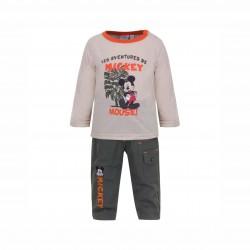 Бебешки комплект Mickey Mouse (Мики Маус) от 3 части за момчета - яке, тениска с дълъг ръкав и панталони. - APH0234 brown-80 - view 2