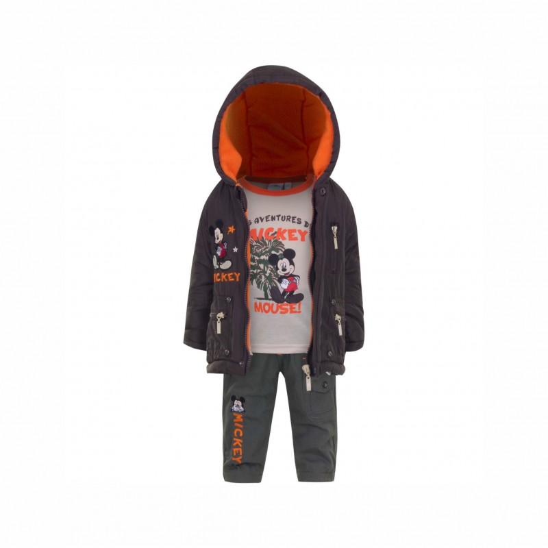Бебешки комплект Mickey Mouse (Мики Маус) от 3 части за момчета - яке, тениска с дълъг ръкав и панталони. - APH0234 brown-80 - view 1