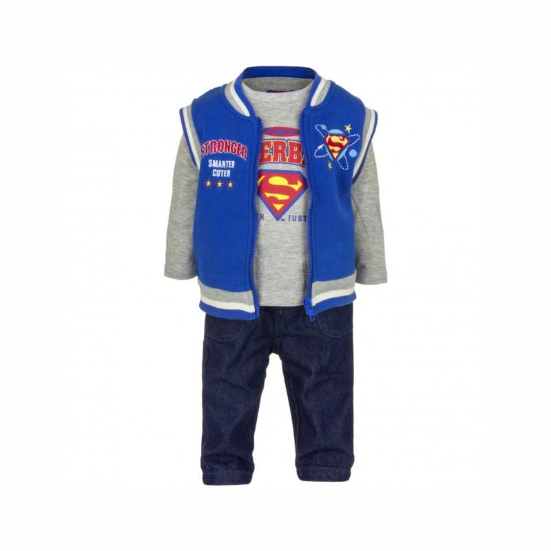 Бебешки комплектSuperman (Супермен)от 3 части за момчета - елек, тениска с дълъг ръкав и дънки. - APH0226 blue-68 - view 1