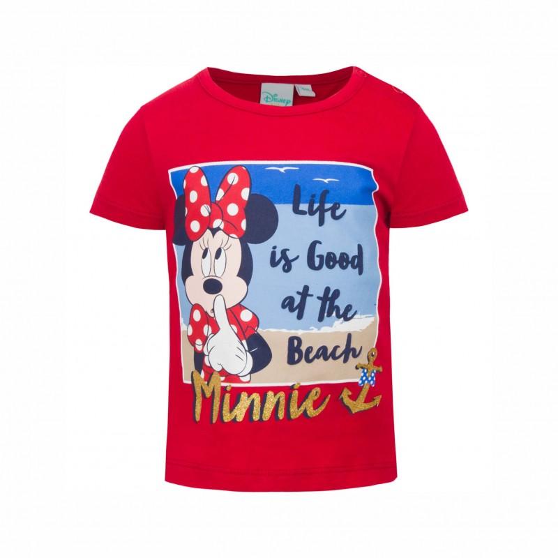 Бебешкатениска Minnie Mouse (Мини Маус) с къс ръкав за момичета. - SE0175 red-68 - view 1